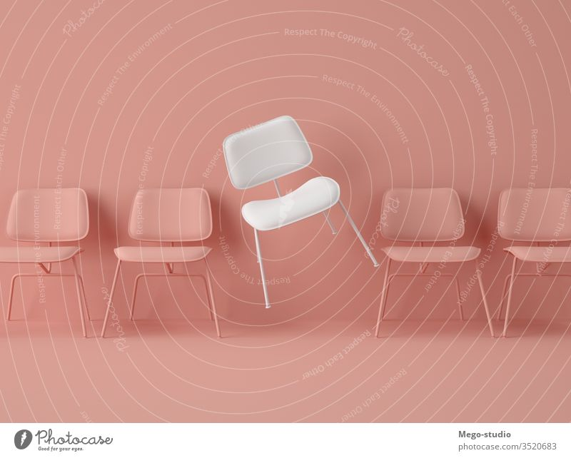 3D Illustration. Row of chairs with one with different colour. business job opportunity 3d object vacant candidate meeting employee individual innovation team