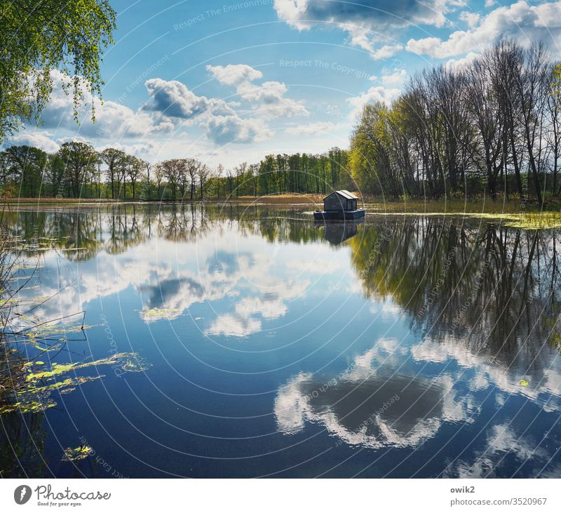 water level Lake Lakeside Sky Clouds Horizon Houseboat Water Surface of water Mirror image Reflection huts Nature Landscape Deserted Exterior shot Colour photo