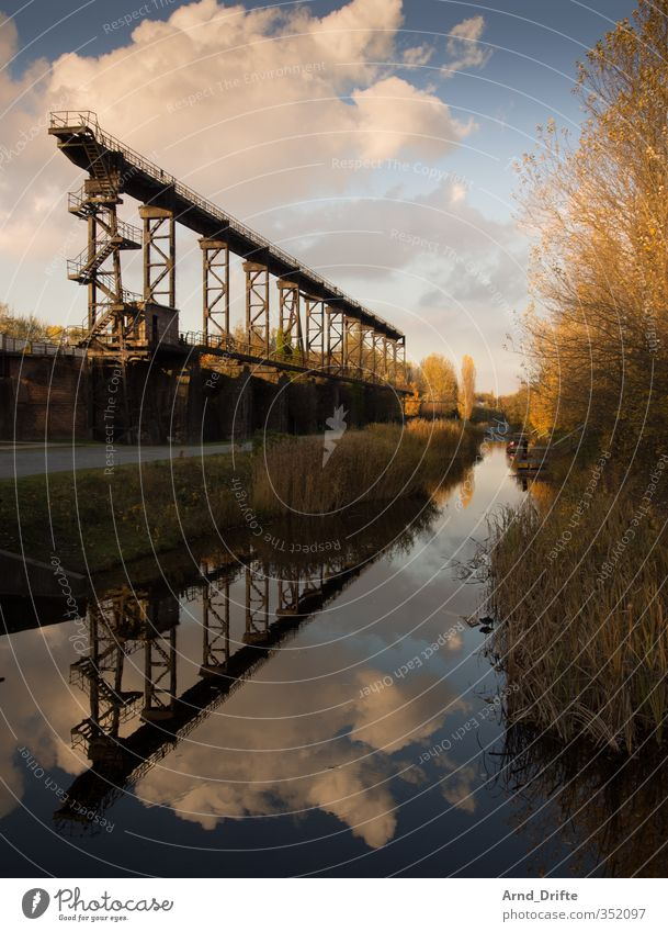 Sky Water Clouds Architecture Bridge Transience Industry Culture Industrial Photography Historic Manmade structures Past Rust Steel Dusk Pond