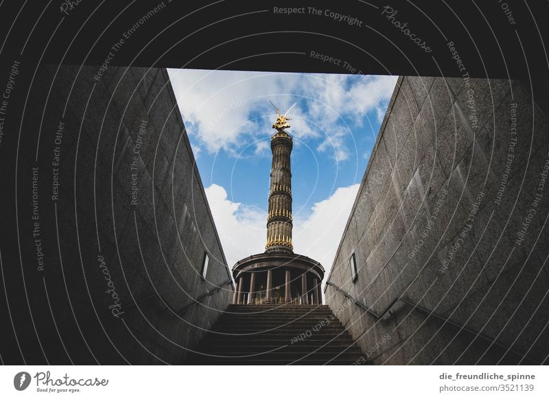 Victory column from below Berlin big star Tourist Attraction Capital city Monument Goldelse victory statue Victoria Berlin zoo Germany Figure Vantage point