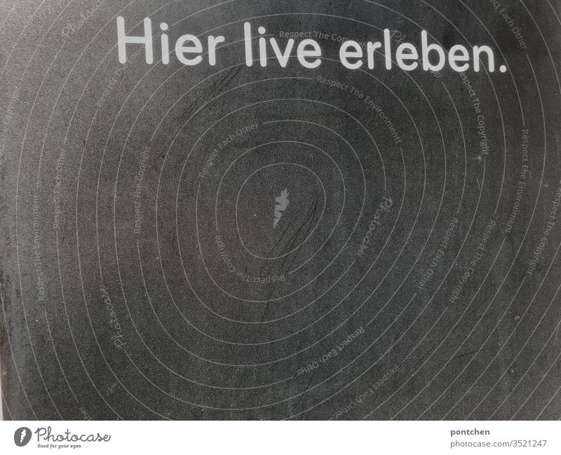 """Advertisement inscription """"hier live erleben"""" on grey background board. Announcement Blackboard announcement words Event Text Live Sports Roadhouse Gray White"""