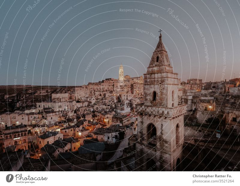 Rock city Matera at dusk voyage Background picture Apulia Card hillock Stone silent Village Vantage point Serene Colour photo Italy Horizon Tourism Calm