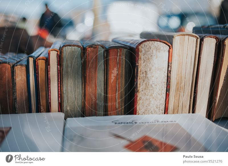 Old books on a raw for sale Book Bookshelf Bookshop Library Reading Literature Colour photo Stack Education knowledge Science & Research learn Information