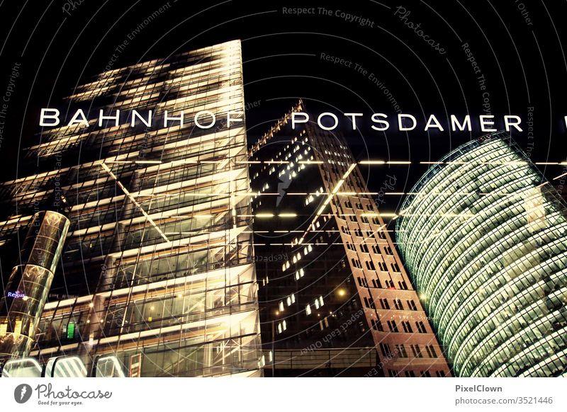 Potsdamer Platz in Berlin at night Architecture High-rise Facade Capital city Exterior shot Night Office complex built