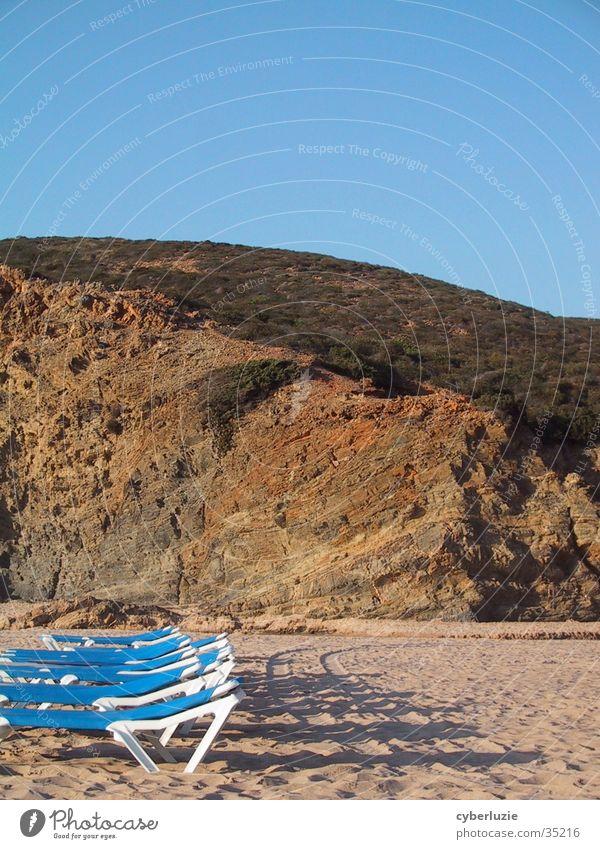 Blue Beach Sand Rock Europe Lie Portugal