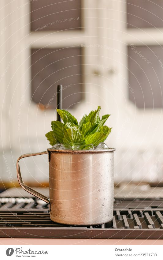 Vertical photo of a metal cup full of mint and ice vertical bar restaurant elegant metallic handle container straw window plastic detail frost iced icy cold