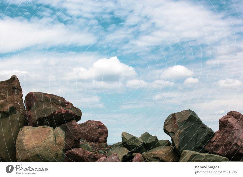 Image of rocky seashore and beautiful sky landscape water nature coast beach travel view seascape summer scenic seaside blue stone vacation coastline horizon