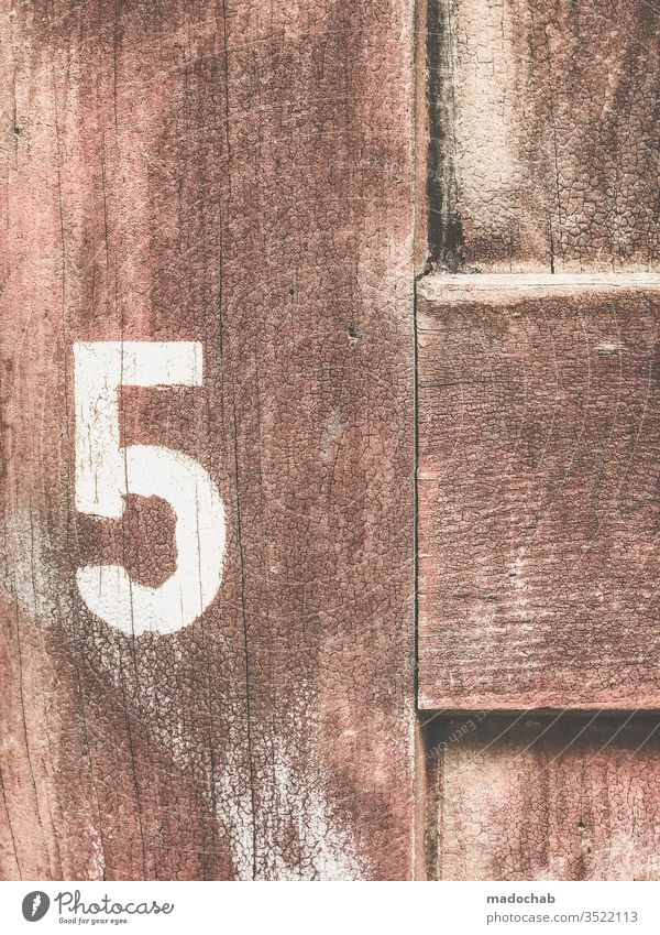 5 - number - 5 - number - 5 - digit - 5 Jubilee Birthday five Sign Digits and numbers House number Signs and labeling figures Old Colour photo wood Wood grain