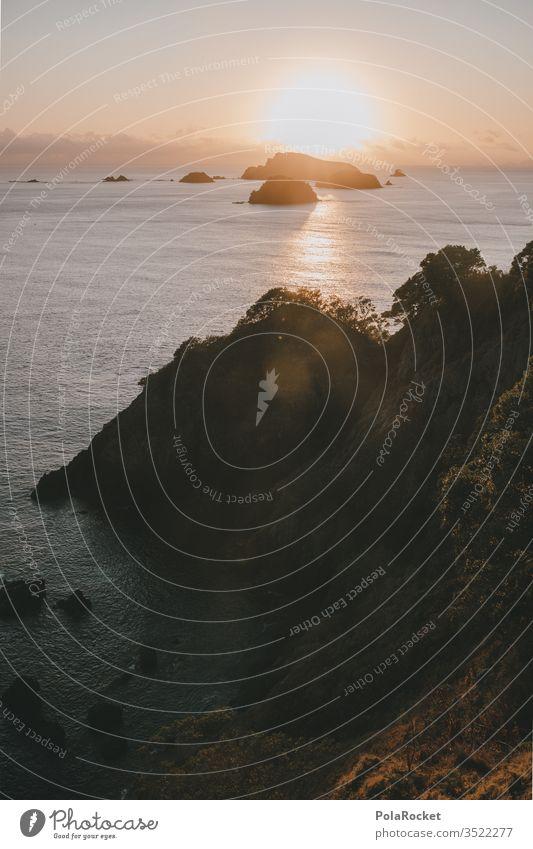 #AS# Sea meets sun Sunrise Cliff steep coast Rock seascape New Zealand pretence Meditative Dream Paradise Water Reflection Coast Nature Horizon Ocean
