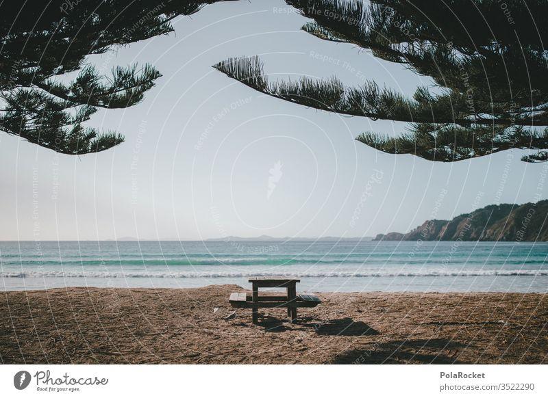#As# Car&Breakfast Ocean ocean Beach Coast Vantage point Idyll Table Morning Breakfast table New Zealand New Zealand Landscape Nature Exterior shot Colour photo