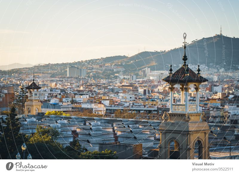 Barcelona city buildings at the afternoon afternoon light architectonic architectural architecture background barcelona barcelona city buildings building facade