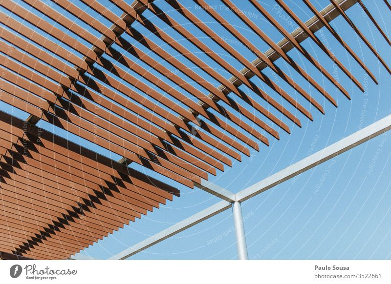 Low Angle View Of Shade Structure Against Clear Blue Sky shade Structures and shapes structure Copy Space background Exterior shot Deserted Pattern Colour photo