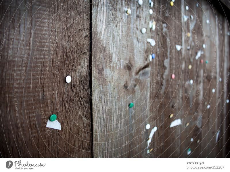 pinboard Paper Piece of paper Wood Old Authentic Dark Sharp-edged Hideous Historic Town Brown White Communicate Bulletin board Exchange of information