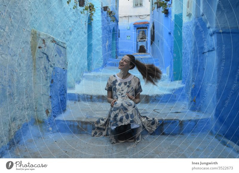 turning blue in the blue city Morocco Africa Hot Old town City trip Copy Space top Summer vacation Destination Historic Culture Downtown Tourism Architecture