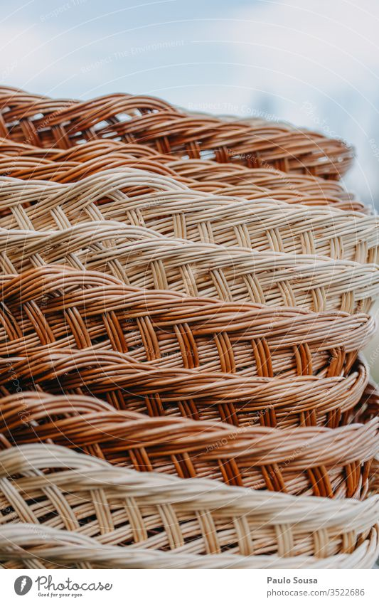 Wicker baskets In a row wicker Pattern Basket Colour photo Exterior shot Nature Close-up market Markets in a row patterns Brown Copy Space background closeup