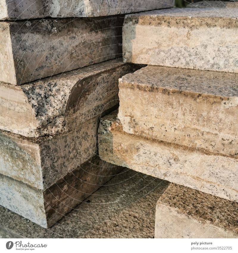 Thick stack of stones in the evening light on a construction site in Dresden Fat thick stones stacked Exterior shot Construction site construction works