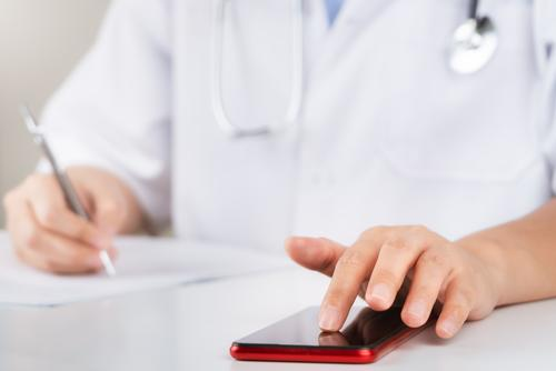 Medical examination and doctor analyzing medical report network connection on tablet screen. analysis background budget business cardiologist cardiology care