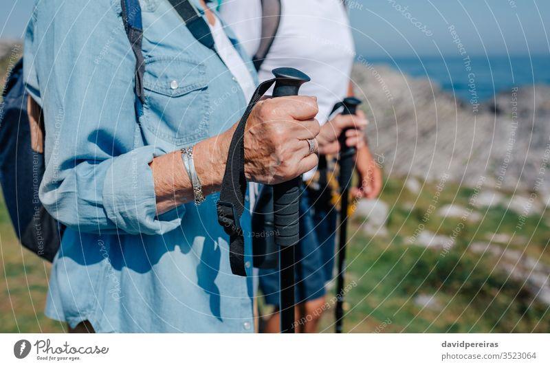 Senior couple practicing trekking outdoors unrecognizable senior trekking sticks hiking mountain hands detail landscape field nature old nordic walking waist up