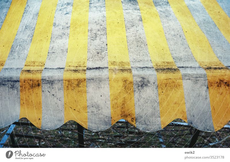 Stripes and waves Hollywood swing tarpaulin Roof Old Dirty Trashy Pattern decorations Waves Plastic wear Ravages of time Retro Retro trash Yellow White