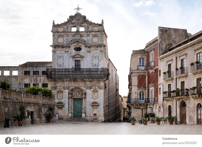 A deserted square in front of the church of a small Italian town Church Religion and faith House of worship Belief Christianity Deserted Architecture
