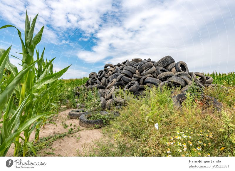 Old broken car tires, piled up in a cornfield to form a mountain Black Blue Broken Car Maize Damaged Dirty Environment Farm Field Trash border Heap means