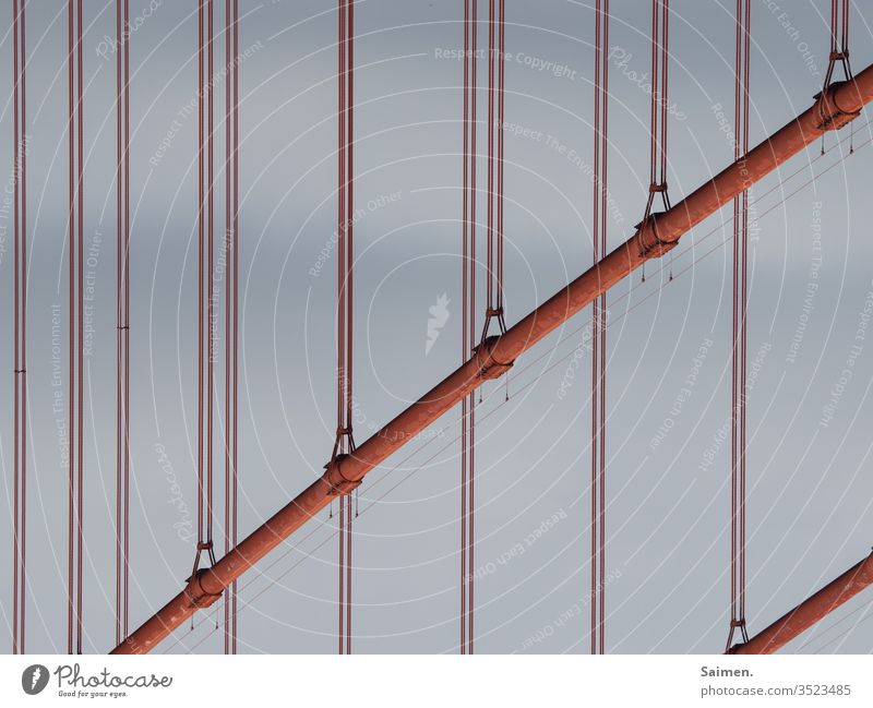 Golden Gate Golden Gate Bridge bridge symbol Landmark Decompose Lines and shapes Steel Steel cables Construction USA California San Francisco Architecture