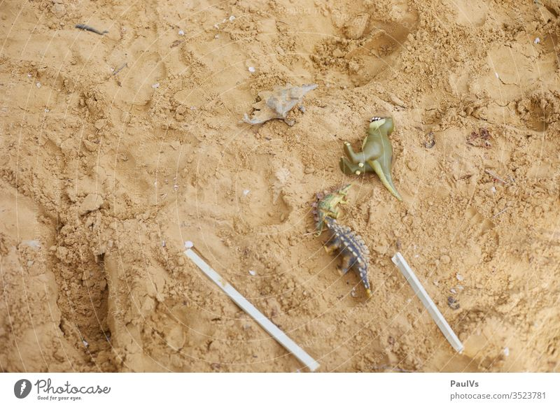 Toy dinosaurs in sandbox Dinosaur Toys Children's game Sand Playground reptiles Reptiles Figure Piece fantasy tyrannosaurus rex stegosaurus Garden children