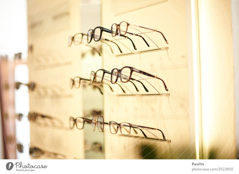 Eyewear at optician / selection of eyewear / optician's shop Optician Optics Spectacles Fashion see Eyes visually impaired focus Healthy sale shank Pupil Senses