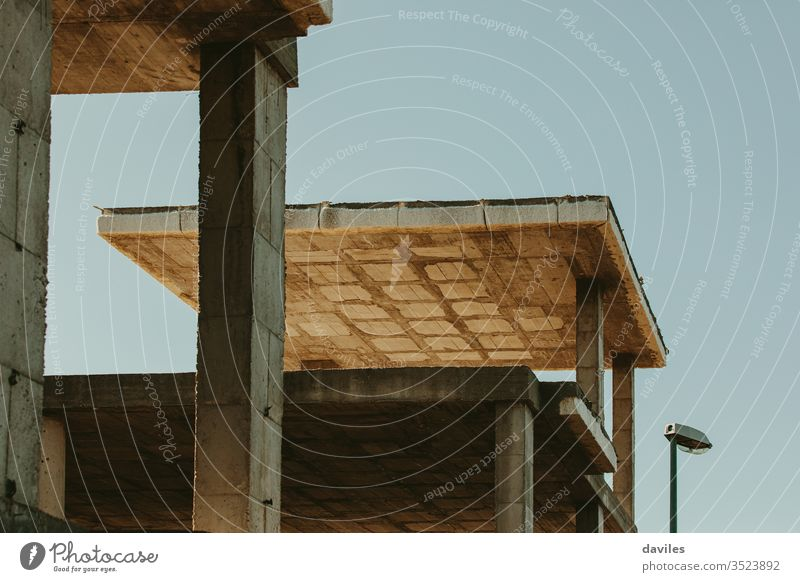 House concrete foundation. Abandoned construction. Housing and real estate crisis concept. countryside home house finance bankruptcy investment business front
