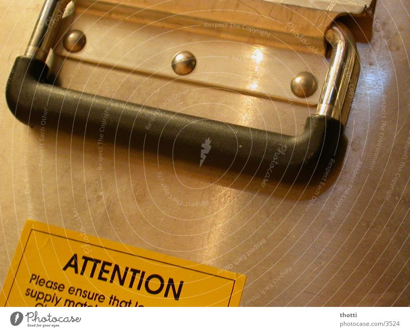 attention Aluminium Crate Suitcase Door handle Label Electrical equipment Technology Respect Warning label
