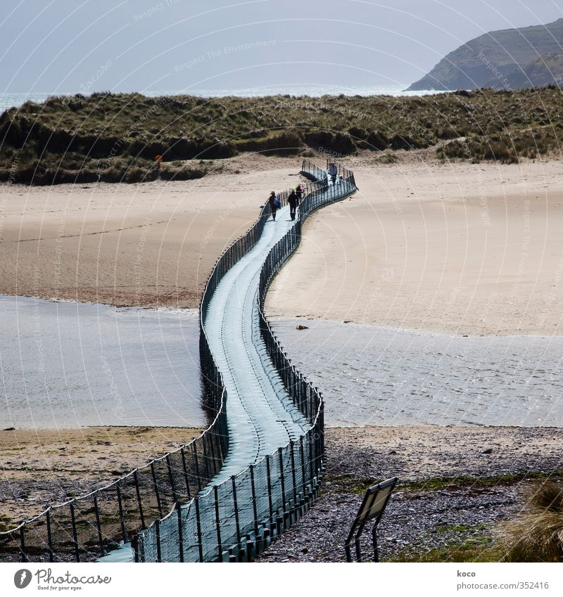 bridge over the sea Human being Group Nature Landscape Sand Water Sky Spring Summer Beautiful weather Waves Coast Beach Bay Brook River Bridge
