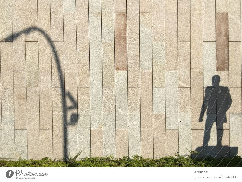 Shadow of a monument and a lantern on the wall Wall (building) Facade Shadow play Light Lantern Man Monument Wall (barrier) Exterior shot Day Deserted
