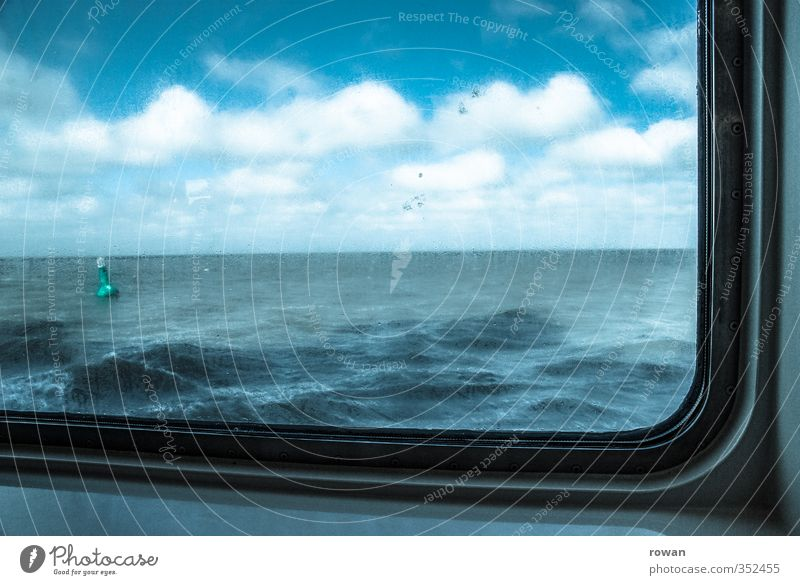 cruise Transport Navigation Inland navigation Passenger ship Ferry Blue Window Vantage point View from a window Ocean Waves Water Sky Clouds Wet Buoy Horizon
