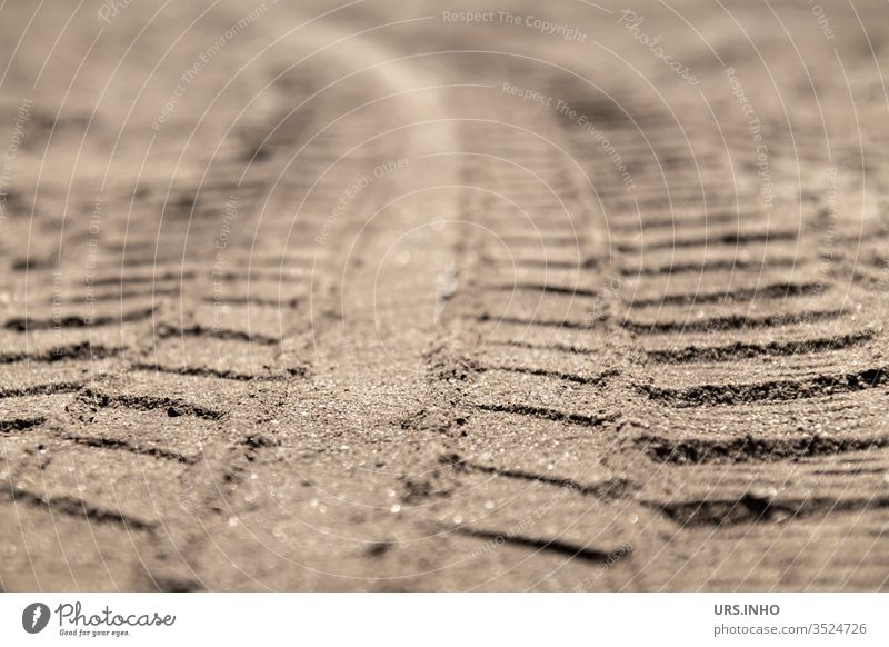 tire marks in the sand tyre track Tire tread Sand Curve Profile Tracks wheel track Deserted Structures and shapes shallow depth of field