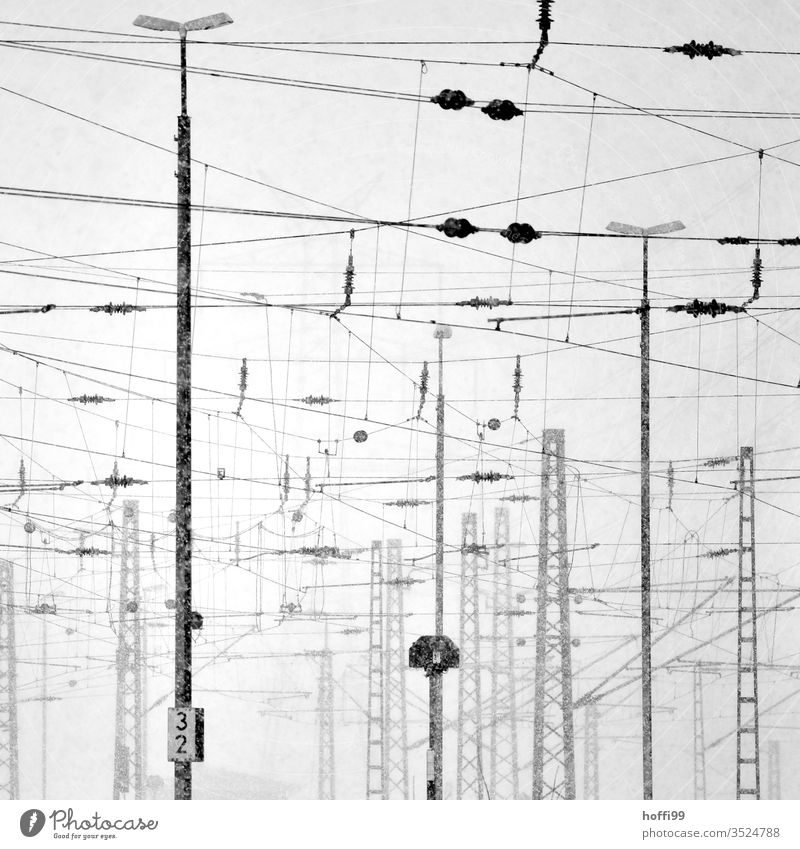 Electrical cables in urban environments Energy industry electricity Transmission lines Electricity pylon Track Overhead line Electronics Industry Fog