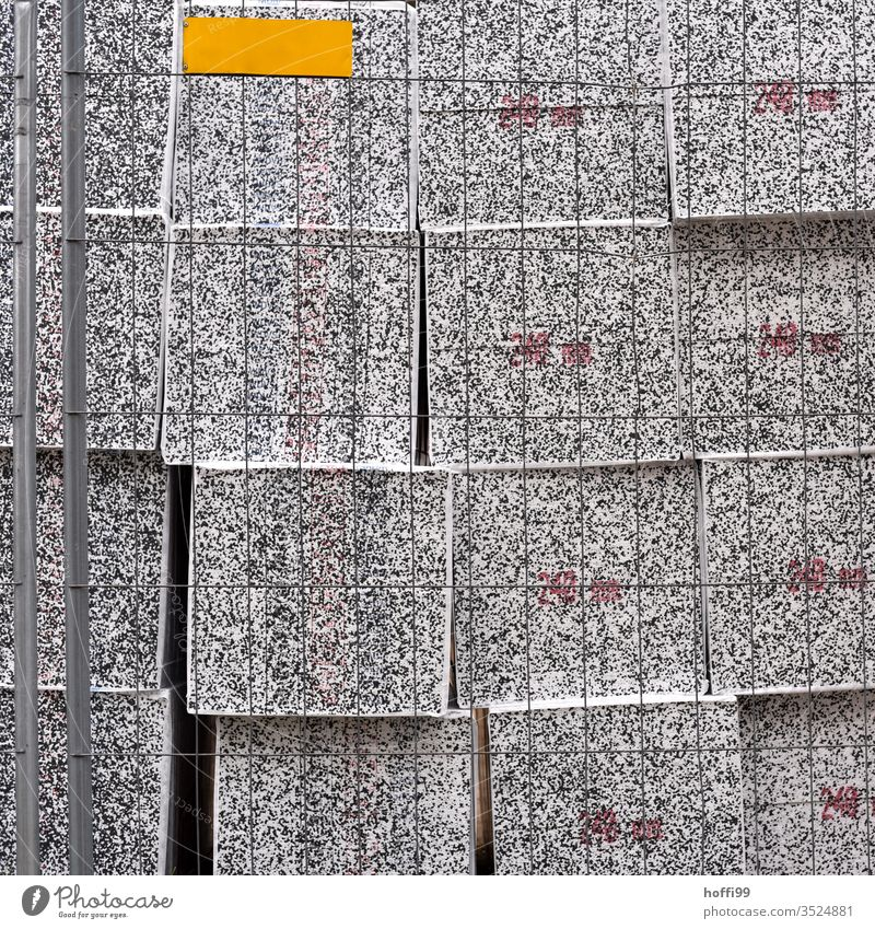 fenced insulation blocks material mix materials Construction technique Construction machinery Building material Workplace Craft (trade) Concrete Material