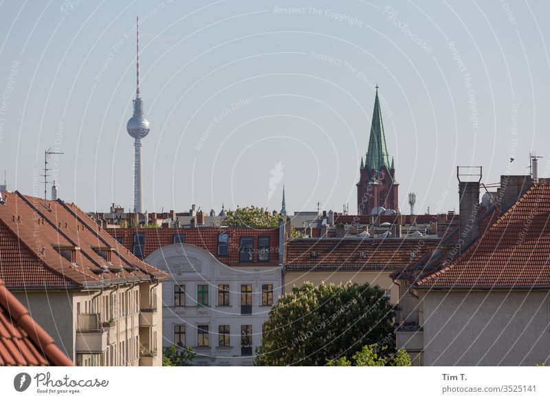 Pankov Pankow Berlin Roof Skyline Television tower tv tower sky Berlin TV Tower Capital city Town Downtown Exterior shot Colour photo Deserted Landmark