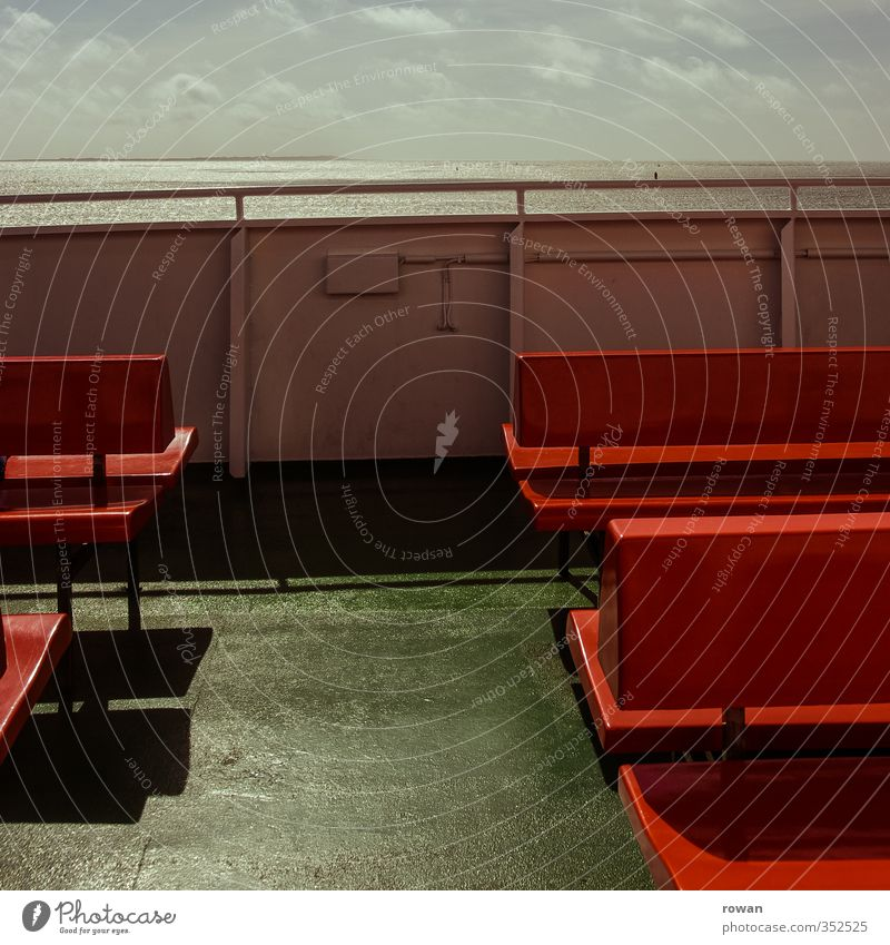 ferry Navigation Inland navigation Cruise Boating trip Passenger ship Ferry Green Bench Red Ocean Empty Horizon Vacation & Travel Sun Warmth Handrail
