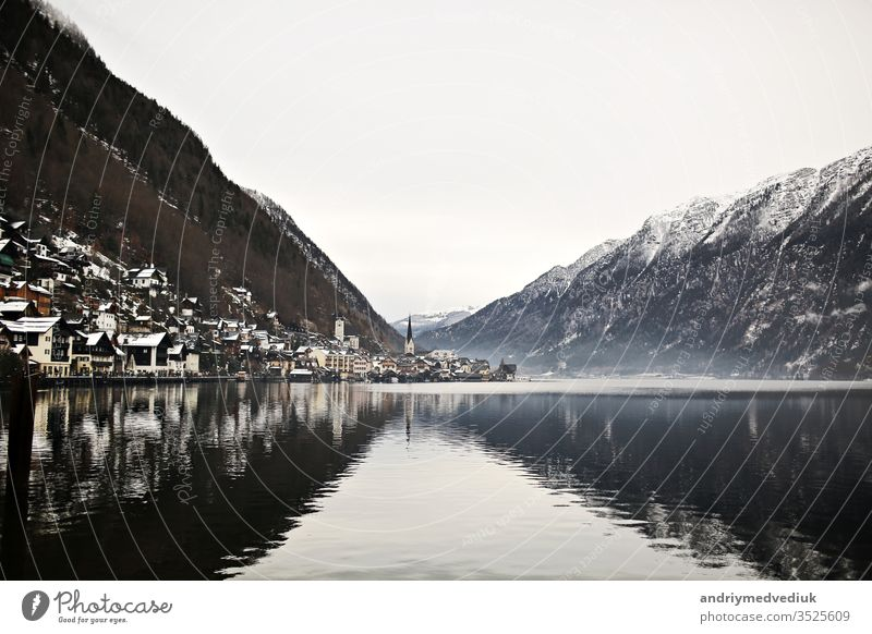 View from height on Hallstatt town between the mountains. Austria winter architecture austria background beautiful beauty blue cold europe forest hallstatt