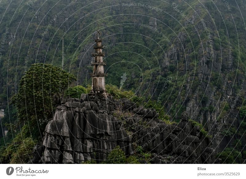 Architecture and nature | Tower on limestone rocks in the landscape of Ninh Binh in Vietnam Limestone rocks green Landscape Old Asia Tall Nature