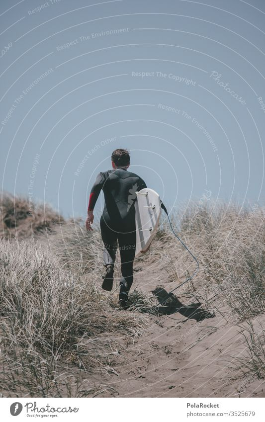 #aS# let's go Surfer Surfing New Zealand Beach dune Walking Extreme sports Wetsuit Sports Surfboard Ocean Colour photo
