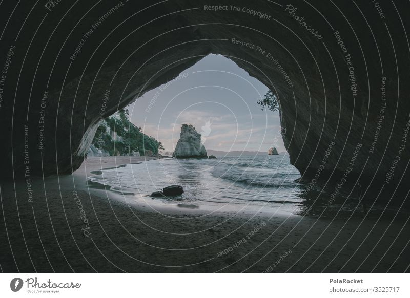 #As# perspective New Zealand New Zealand Landscape Cathedral Cove Coast Nature Nature reserve Love of nature Experiencing nature Ocean ocean Waves