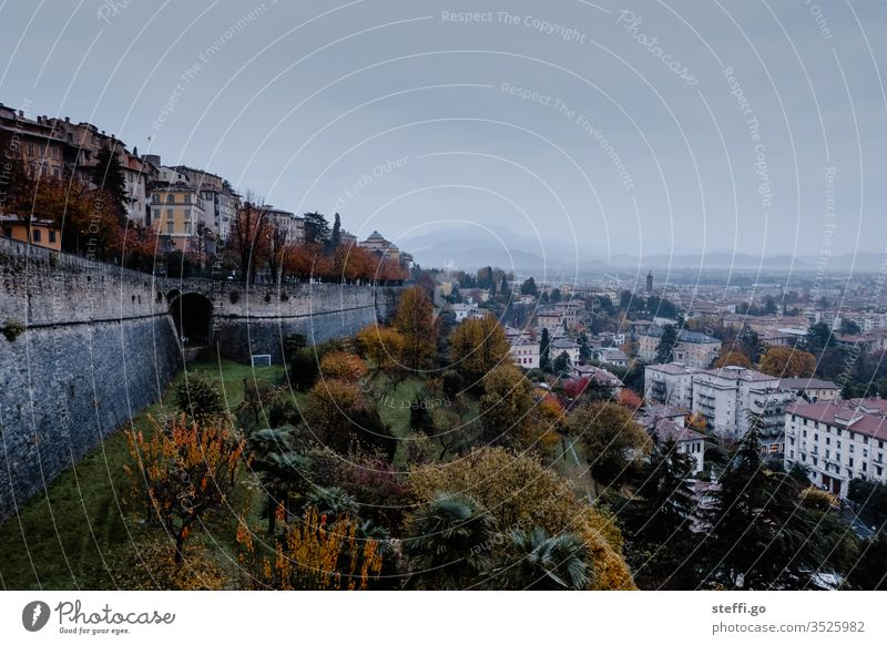 Panorama Bergamo in Italy bergamo Architecture Europe Vacation & Travel Historic built Tourism Town Exterior shot Colour photo Old town Tourist Attraction