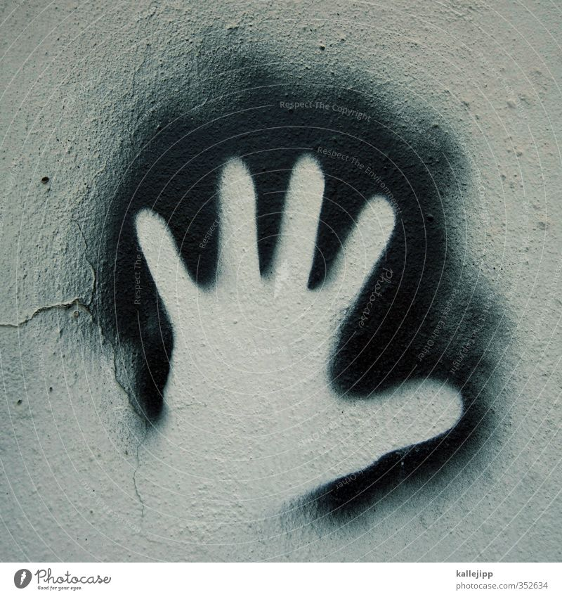 Hi! Hand 1 Human being Sign Graffiti Hip & trendy Gray Black Fingers Anonymous Hello Salutation Extraterrestrial being Wall (barrier) Rock drawing