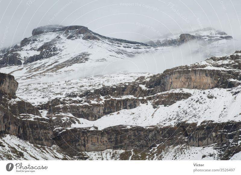 Head of the Ordesa Valley. Ordesa y Monte Perdido National Park. Pyrenees. Huesca. Aragon. Spain. aragon cliff cliffs cold color colors colour colours crag