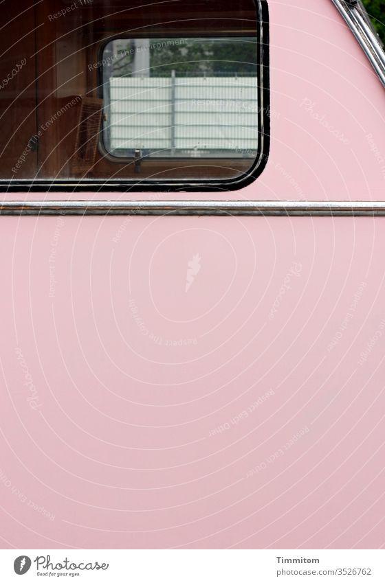 Window of an old caravan - partial view Caravan vintage Old Pink Plastic Deserted Retro Camping Vista Fence