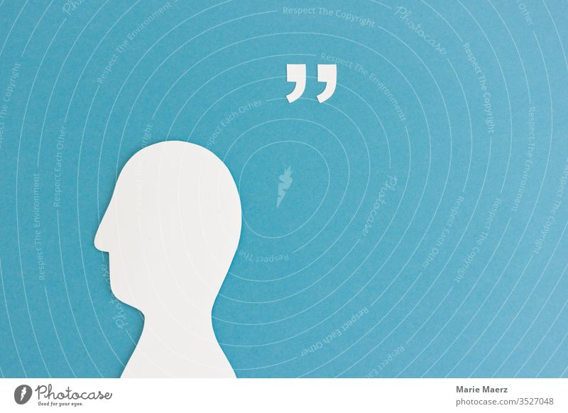 Head silhouette of paper with quotation marks and space for quotation Neutral Background To talk Reading Wisdom Communicate Experience Colour photo Write Quote