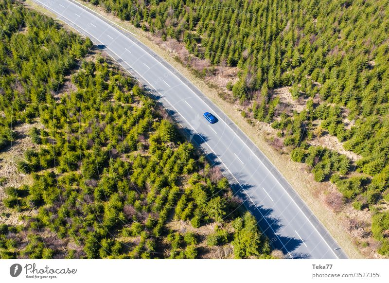 a blue street car from above in an spring forest street from above street with a car car driving agricultural agricultural way rural path air aerial view grass