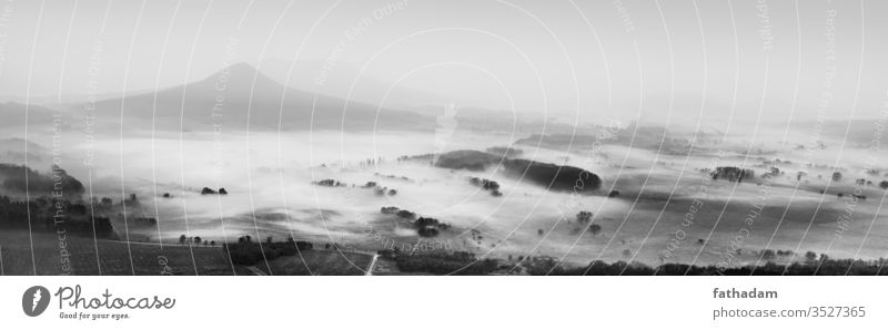 Black and white foggy morning landscape black and white nature mist sunrise mountains rural countryside Autumn Nature Landscape Dawn Misty atmosphere