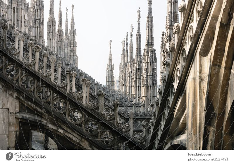 Rows of gothic towers of the Cathedral of Milan, Italy milan cathedral architecture italy statue landmark church city building travel roof duomo europe view